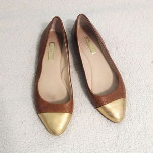 Louise Et Cie Leather Tan and Gold Ballet Flats